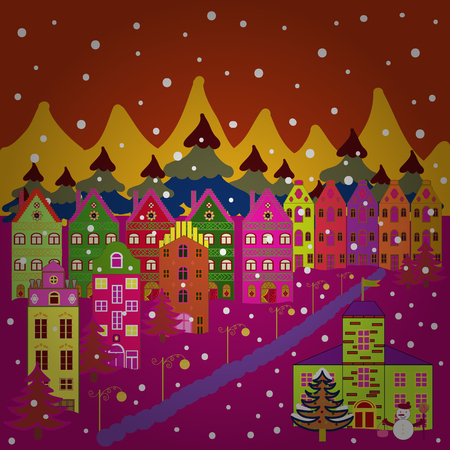 Illustration pattern with various cartoon houses. Christmas illustration on orange, magenta and yellow colors. Illustration illustration. Stock Photo