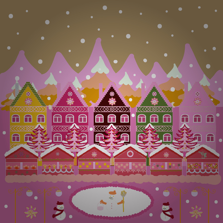 A fairytale village with bright houses and trees, hills, mountans, snowman. Illustration illustration. For design background. Panorama on pink, neutral and white colors.