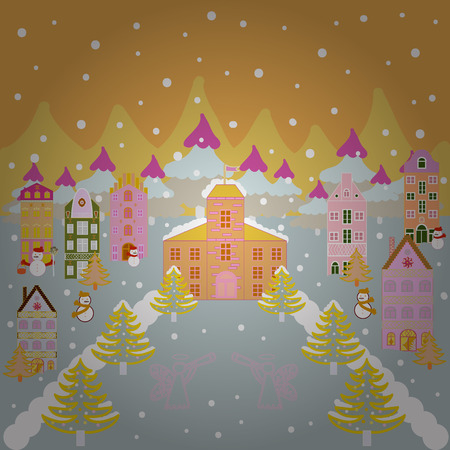 Colorful cute outdoors landscape. Illustration village countryside scene background. Freehand drawn cartoon style. Among hills. Rural community on yellow, neutral and white colors.