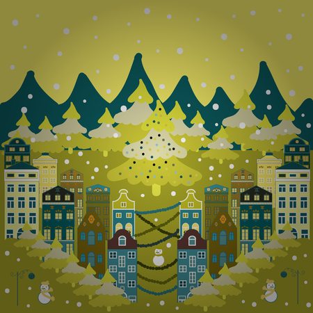 Christmas illustration on yellow, blue, neutral and brown colors. Illustration illustration. Illustration pattern with various cartoon houses.