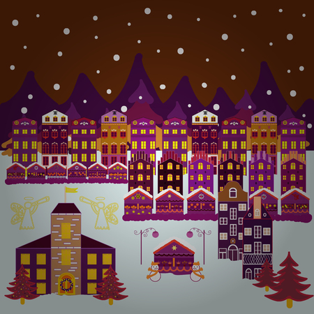 Nordic nature landscape concept. Perfect for kids fabric, textile, nursery wallpaper. Childish pattern with house and trees. Scandinavian style on brown, purple and neutral colors. Illustration. Stock Illustratie