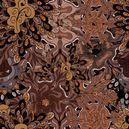 Doodles brown, black, beige and neutral on colors. Seamless Elegant vector texture with floral elements.