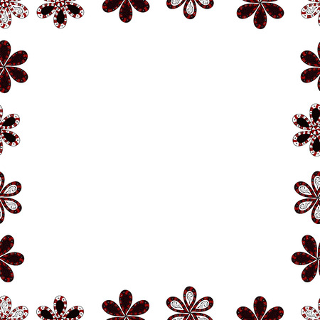 Vector illustration. Square frames doodles. Seamless pattern. Illustration in white, brown and red colors.