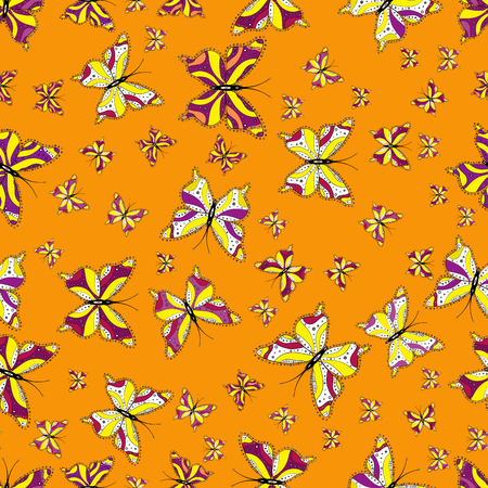 Vector. Seamless pattern. Perfect for web page backgrounds, wallpapers, textile, surface textures. Of watercolor butterflies on yellow, purple and white background. Vector illustration.