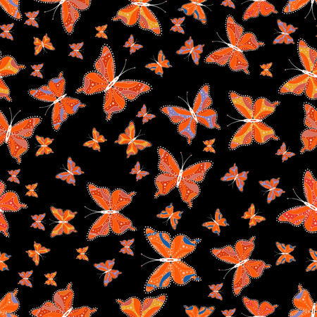 Vector. Fashion Fabric Design. Pictures in black, orange and white colors. Beautiful seamless pattern of cute butterflies. Hand-drawn illustration.