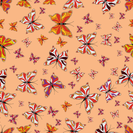 In vintage style. Illustration in beige, orange and white colors. Seamless pattern of Hand Drawn silhouette butterflies with watercolor texture. Vector illustration.