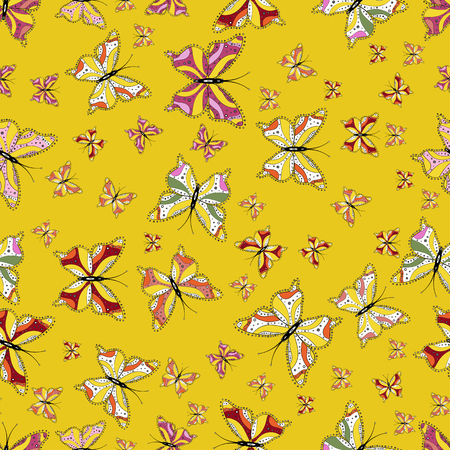Vector. Pattern for fabric, textile, print and invitation. Butterflies pattern. Illustration on yellow, white and black background. Seamless.