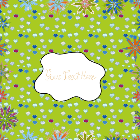 Flowers on green, white and blue colors. Vector flat flowers seamless pattern. Design gift wrapping paper, greeting cards, posters and banner design.