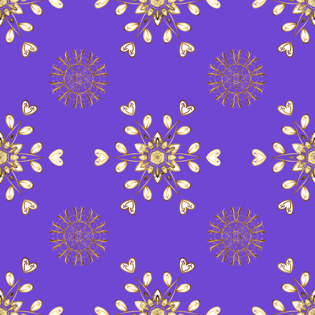 Simple Christmas seamless pattern with geometric motifs. Snowflakes with different ornaments. Elements with violet, white and brown colors. Vector illustration. Retro textile collection.