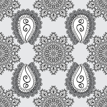 Round ornament with intertwined branches, flowers and curls. Colored Mandala on a gray, black and white baqckground. Arabesque. Vector circular abstract mandalas pattern.
