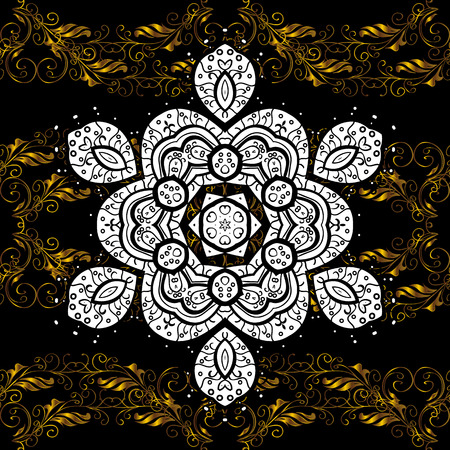Brilliant lace, stylized flowers, paisley. Seamless pattern on black, white and brown colors with golden elements. Seamless golden texture curls. Openwork delicate golden pattern. Vector oriental. Vettoriali