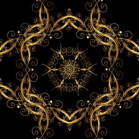 Vector illustration. Oriental vector classic and golden pattern. Seamless abstract background.