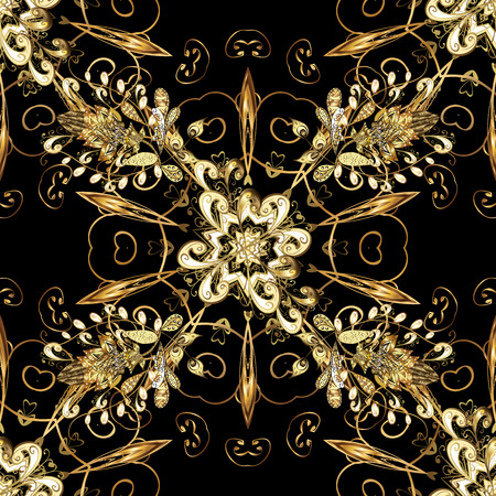 Gold metal with floral pattern. Seamless golden pattern. Vector golden floral ornament brocade textile and glass pattern. Colors with golden elements. Stock fotó - 107314073