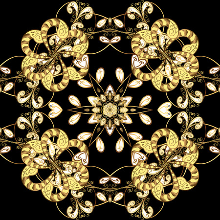 Seamless pattern on black colors with golden elements. Traditional orient ornament. Classic vector golden seamless pattern. Classic vintage background. Иллюстрация