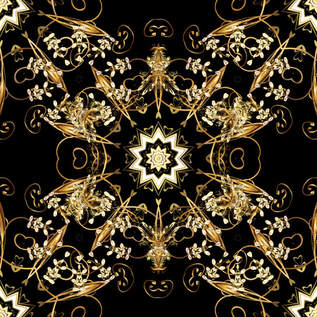 Seamless golden pattern. Vector oriental ornament. Seamless pattern on black colors with golden elements. Иллюстрация