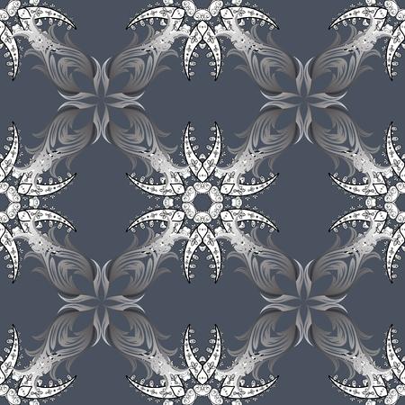 Arabesco. Mandala colorato su sfondo blu, grigio e bianco. Modello circolare mandala astratto di vettore. Ornamento rotondo con rami intrecciati, fiori e riccioli.
