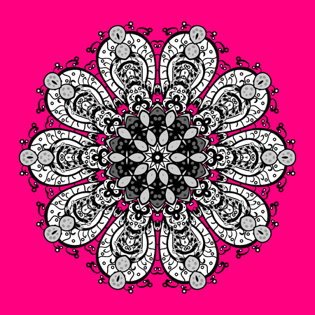 Vector illustration. Repeated texture for surface, wrapping paper, on magenta, black and white colors. Isolated nice snowflakes on colorful background. Winter snowflake, vector background.