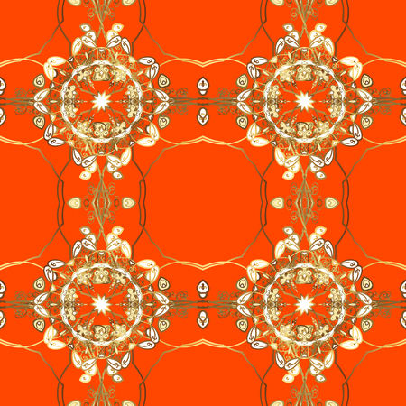 Vector illustration. Vintage seamless pattern on a orange, brown and yellow colors with golden elements.