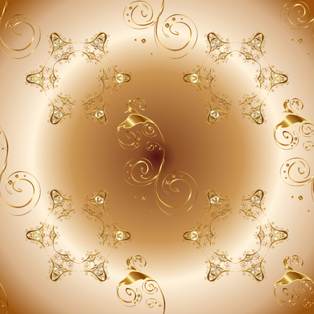 Vector abstract background with golden repeating elements on a beige, brown and neutral colors. Seamless oriental classic golden pattern.