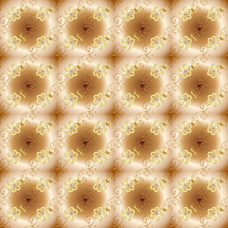 Decorative symmetry arabesque. Seamless medieval floral royal pattern. Gold on beige, brown and yellow colors. Vector illustration. Good for greeting card for birthday, invitation or banner.