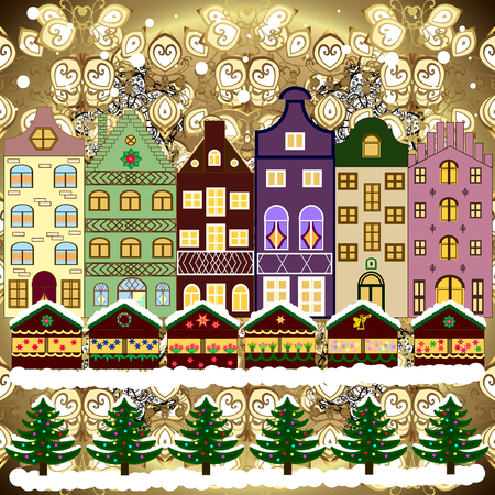 Evening city winter landscape with snow cove brown, beige and white houses and christmas tree. Holidays Vector illustration.