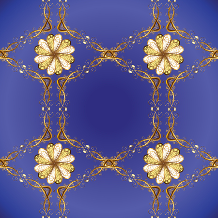 Vector golden floral ornament brocade textile and glass pattern. Blue, violet and brown colors with golden elements. Gold metal with floral pattern. Seamless golden pattern.