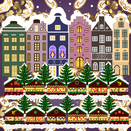 Evening city winter landscape with snow cove houses and christmas tree. Holidays Vector illustration. Ilustração