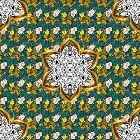 Vector gift voucher template with mandala ornament on a black, yellow and green colors. Illustration
