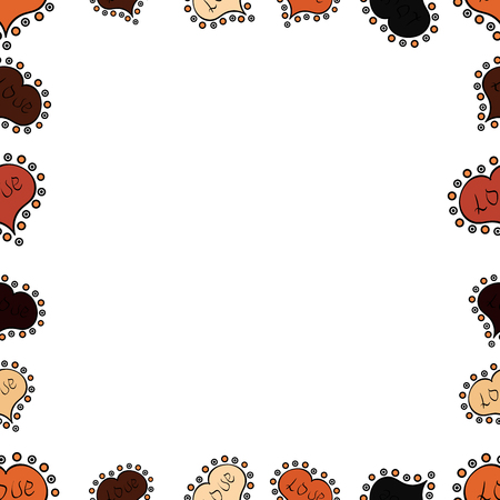 Picture in white, black and orange colors. Element template. Frame doodle. Seamless. Vector illustration. Illustration