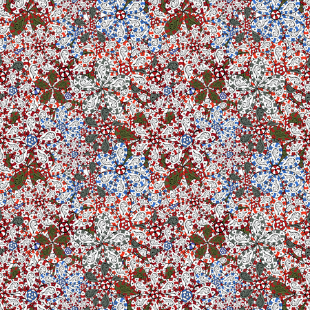 Vector cute pattern in small flower. Small colorful flowers. Spring floral background with white, red and black flowers. The elegant the template for fashion prints. Motley illustration.