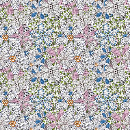 Flat Flower Elements Design. Vector floral background. Colour Summer Theme seamless pattern Background. Print. Cute fabric pattern. Cute seamless pattern.