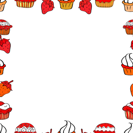 Illustration in white, red and black colors. Vector illustration. Seamless pattern.Hand drawn doodle frames. Illustration