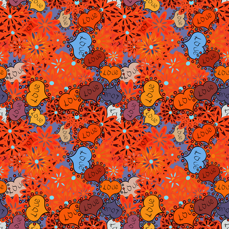 Vector illustration. Pattern for wrapping, cover, background, surface print. Seamless raster love pattern with hearts. Endless background with hand drawn figures on orange, blue and black colors.