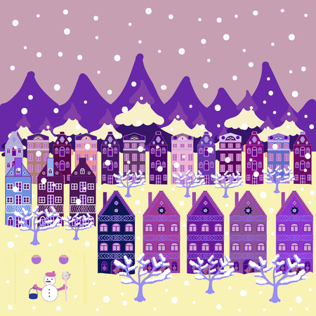 Perfect for textile, nursery wallpaper. Hand drawn vector abstract scandinavian graphic illustration with house, trees and mountains on neutral, beige, purple colors. Nordic nature landscape concept.