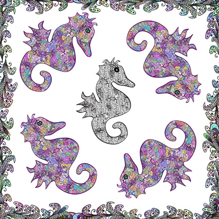 Vector illustration. Abstract seamless pattern for wallpaper, clothes, boys, girls. Pictures in white, neutral and purple colors. In vintage style. Sea Horse. Illustration