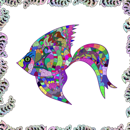 Vector illustration. Seamless Fish pattern. Fishes on white, neutral and green. Handdrawn.