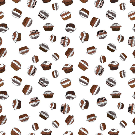Vector illustration. Muffin. Cupcake pattern background. Happy birthday cupcake background in white, brown and black. Seamless.Cupcake vector pattern.