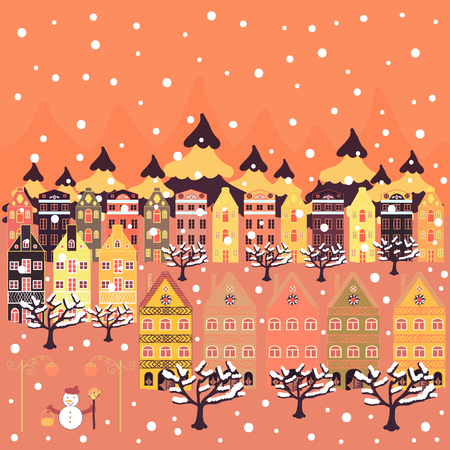 Nice buildings on orange, yellow and purple colors. Vector illustration. Doodle houses vector background.