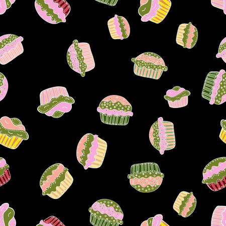 Seamless with cupcakes. Vector illustration. Wrapping paper. For food poster design on black, green and pink.