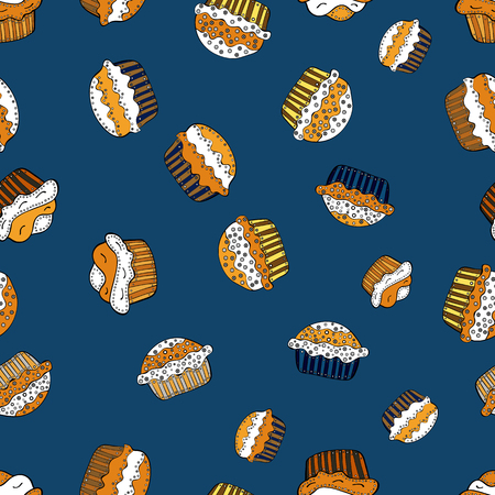 Vector. Cake muffin cute seamless pattern. Nice birthday pattern on blue, white and orange. For food poster design.