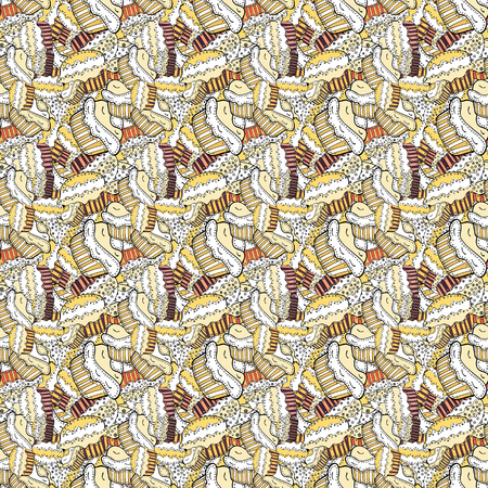 Nice birthday pattern on white, beige and yellow. Cake muffin cute seamless pattern. Vector. For food poster design.