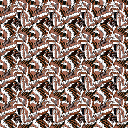 Seamless pattern with cakes. Wrapping paper. Vector illustration. Nice birthday background on brown, white and black.