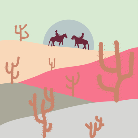 Mountain landscape peaks on sunset on panoramic view. Beautiful rocks sand desert, dune of the huge sizes. Vector. Watercolor hand drawn painting illustration on neutral, gray and pink background.  イラスト・ベクター素材