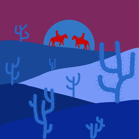 Desert Landscape with Cactus and Mountains in the Background. Flat Design Style. Vector illustration. Illustration on blue, purple and red colors. Illustration