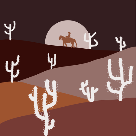Stylish brown, pink and neutral colors. Vector illustration. Wild cactus on deserts. Sands with cactus.  イラスト・ベクター素材