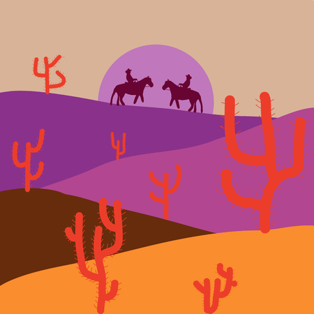Deserts and Sand Dunes Landscape. Background with cactus in violet, beige and orange colors. Composition. Vector illustration.