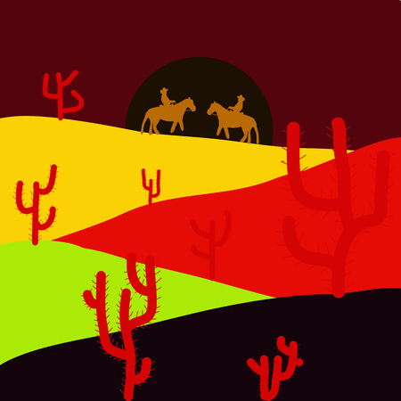 Pictures on red, black and yellow colors. Vector. Background scene with cactus in desert illustration.