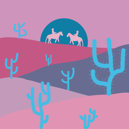 Illustration on neutral, pink and violet colors. Vector illustration. Beautiful sand dunes in the Sahara desert.