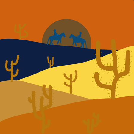 Back to nature. Design on orange, yellow and blue colors. Horizon line with sky. Extreme tourism and traveling. Desert trip. Sands. Birds. Mountains. Exploring Africa. Vector illustration.