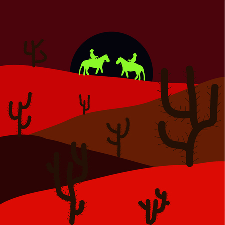 Sands. Red, brown and black colors background with cactus. Vector illustration. Desert.